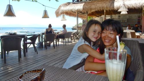 Rae and Mom in Nusa Lambongan